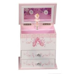 Musical Jewelry Box - Mele Angel Girl's Wooden Musical Ballerina Jewelry Box with Fashion Paper Overlay Music Box Ballerina, Ballerina Jewelry Box, Ballerina Room, Kids Jewelry Box, Musical Jewelry Box, Girls Jewelry, Ballerina Slippers, Jewelry Organization, Decorative Accessories