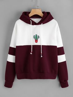 Sweatshirt Cactus Poleron Mujer Print Patchwork Striped Women Hoodies Embroidery Long Sleeve Oversized Hoodie Cute Pullover Size S Color black sweatshirt Printed Sweatshirts, Hooded Sweatshirts, Womans Hoodies, Men's Hoodies, Mode Outfits, Fashion Outfits, Men Fashion, Preppy Fashion, Fashion Black