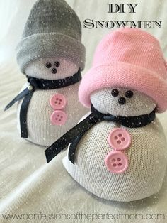 DIY- Sock Snowman (Snowmen) Craft. OMG these were so cute and so easy to make. Winter decor, Holiday Decorating, kids,
