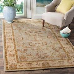 Safavieh Antiquity Linnet Hand-Tufted Wool Area Rug or Runner, Light Grey/Beige Wool Area Rugs, Beige Area Rugs, Wool Rug, Traditional Lighting, Warm Colors, Rich Colors, Trendy Colors, Vivid Colors, Grey And Beige