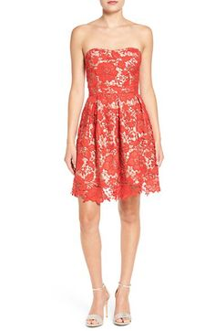 Lush Lush Lace Strapless Fit & Flare Dress available at #Nordstrom