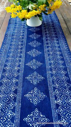 Table Runner In Natural Hmong Indigo Blue Batik 98 Inch #homedecor #boho #gardenparty