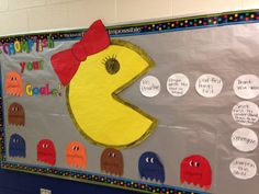 """Accomplish your goals 7 habits bulletin board kids could make smaller pacman out of plates and put smaller pattern of white dots on board with smaller white paper plates...""""whats your reading goal this summer??"""" something like that...look up old pacman game and get more ideas"""