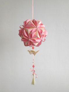 Origami paper ball. Wedding decoration. Kusudama in petals. $33.00, via Etsy.