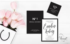Chanel Bridal Shower // Invitations, Black and White, Bridal Shower, Stationery // Invitations & Design by Coconut Press Boutique Design, A Boutique, Chanel Bridal Shower, Personalized Stationery, Bridal Shower Invitations, Invitation Design, Wedding Events, Coconut, Place Card Holders
