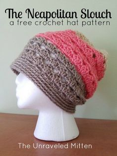 This ice cream inspired crochet slouchy hat is worked from the bottom up in a lacy shell stitch pattern. The perfect spring accessory!