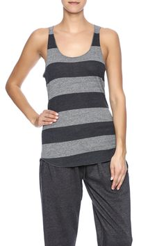 Two toned, eco grey-iron weathered stripe tank with a scoop neck.    Grey Weathered Tank by Alternative Apparel. Clothing - Tops - Sleeveless Clothing - Tops - Tees & Tanks Austin, Texas
