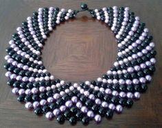 Maxi colar de pérolas pretas e lilás