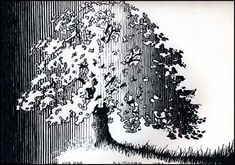 pen and ink tree... nice reverse of value shading... also could be day and night..