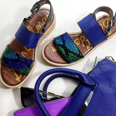 "Sam Edelman Cobalt Snake Print Flatform Sandals Details: • Size 7.5 • Snake print leather in black, blue, green, and purple • Woven strap • Cork platform • Buckle closure • 1"" platform and 1.25"" heel • Brand new in box  02161609 Sam Edelman Shoes Sandals"