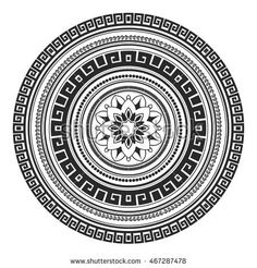 Ethnic decorative element hand drawn vector mandala black and white, for coloring page. Orienta motifs.