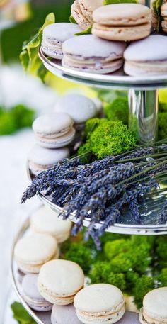 lavender decor on dessert table