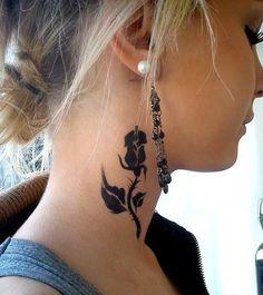 First Tattoo Ideas Black Rose On Neck