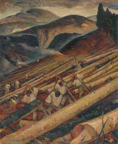 Martin Benka Drevorubači pod Salatínom 1931 Illustrators, Graphic Art, Illustration Art, Tapestry, Landscape, Ethnic, Goodies, Europe, Painting