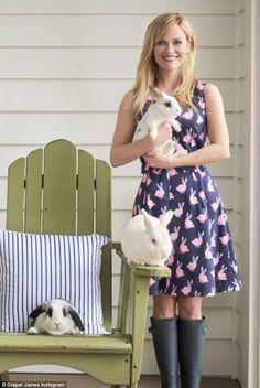 Rabbit run: The Oscar winner modeled a cute purple sundress with adorable pink bunnies on ...