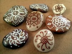 Decorative Stones-Set of 7 White and Brown via Etsy