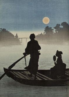 """ A boat on the Sumida River in moonlight, 新井芳宗 / Arai Yoshimune. (1873 - 1945) """