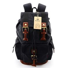 c06fa9a9586 Amazon.com: BLUBOON(TM) Vintage Canvas Backpacks Rucksacks Hiking Backpack  Travel Rucksack Laptop Backpack Fashion Designed With Large Capacity Backpack  for ...