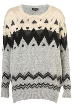 Knitted Chunky Fairisle Jumper - Topshop