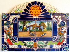 Wall piece made with vintage Puebla Rugerio tiles, Tlaquepaque figures, and little Mexican clay dishes from my childhood days. Mary Ann