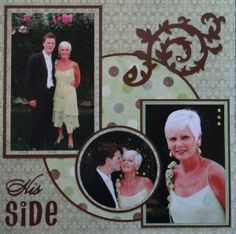 Wedding Scrapbook Page - His Side - with a Flourish from Cindy Loo Cricut cartridge.                                                                                                                                                                                 More