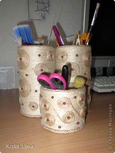 Декор предметов День учителя Карандашницы - органайзеры на любой вкус  Бусины Картон Клей Краска Ленты фото 1
