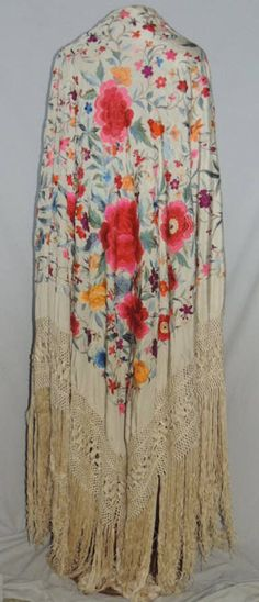 Huge Ivory Hand EMBRODIERED Chinese 1920 30's Silk Piano Shawl | eBay
