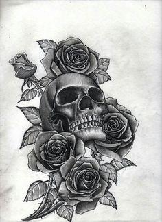 Skull rose tattoos, rose thigh tattoos, rose tattoo leg, skull th Girls With Sleeve Tattoos, Tattoos For Women Small, Girl Tattoos, Tattoos For Guys, Half Sleeve Tattoos Drawings, Skull Rose Tattoos, Rose Tattoo Thigh, Skull Thigh Tattoos, Tattoo Sleeve Designs