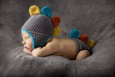 Colorful DINO Hat and Diaper Cover Baby