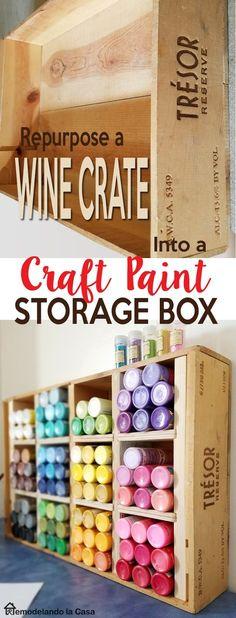 Repurpose a wine crate ---> Craft Paint Storage Box - Craft room organization