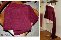 Sweater Scarf turned into Poncho ~ tutorial