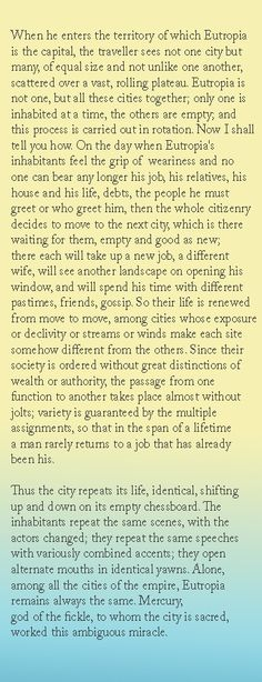 Eutropia - Invisible Cities - Italo Calvino