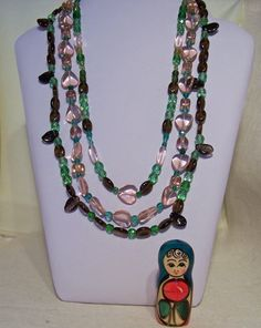 Multicolour Glass necklace Handmade Jewelry by evecollection, $25.00