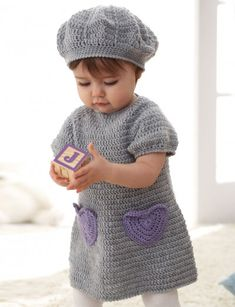 I Heart My Dress ~ Sweet dress with accent heart pockets and matching beret for ages 6 to 18 months: free #crochet #pattern