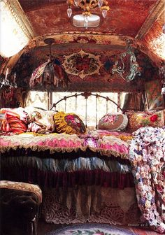 gypsy interior ideas | inside a gypsy caravan by shelley.havirko