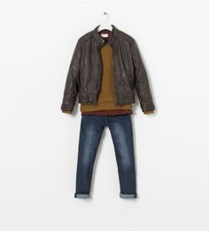 Zara kids cool outfit for boys. Leather and layers.