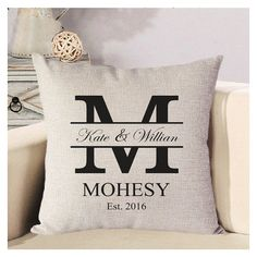 Personalized Wedding Pillow Cover Monogram Pillow by babapanda