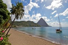 Paradise - A beautiful view of the Piton Mountains from a beautiful beach in St Lucia.