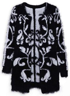 Black Long Sleeve Flower Pattern Cardigan Sweater - Sheinside.com