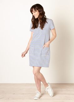 People Tree Aida Blue Stripe Dress - People Tree - With a relaxed fit and short sleeves, this navy horizontal stripe shift dress is made from 100% organic Fairtrade certified cotton jersey. #Organic #FairTradeLabelled #FairTrade #WFTO #IFAT