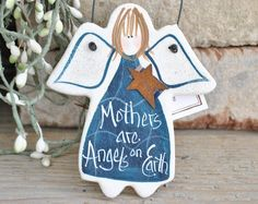Mother's Day Gift Salt Dough Ornament Angel / Birthday for Mom or Xmas  Hanging Salt Dough