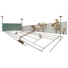 Mid Century Tennis Court Wall Sculpture by Curtis Jere