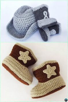 Crochet Baby Booties Crochet Cowboy Boots Free Pattern - If you are on the hunt for a Crochet Cowboy Outfit Pattern, we have you covered. You'll love the Crochet Cowboy Hat, Crochet Cowboy Boots and more. Crochet Cowboy Boots, Crochet Baby Boots, Crochet Baby Clothes, Crochet Slippers, Crochet Beanie, Bunny Slippers, Crotchet, Bonnet Crochet, Crochet Diy