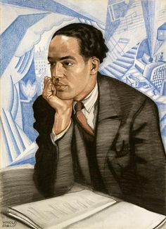 Langston Hughes by Winold Reiss, circa Pastel on illustration board. Courtesy of the National Portrait Gallery. Reiss, Dandy, People Reading, Handwritten Text, Langston Hughes, American Poets, American History, American Literature, Classic Literature