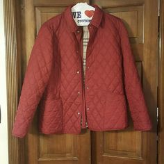 Burberry jacket Burgundy quilted lightweight burberry jacket. Jacket has minor flaws couple stains indicated in  photos overall jacket in very good condition. Burberry Jackets & Coats