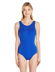 ba0b80173c8af JETS by Jessika Allen Women s Parallels Mastectomy High Neck Sheer Panel  Overlay One Piece Swimsuit