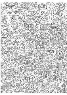 Free coloring page In any case a lot of fish and other aquatic creatures are represented in this difficult adult coloring page. There's even a funny submarine! Allow 1 or 2 hours for this coloring page Coloring Pages For Grown Ups, Coloring Book Pages, Coloring Sheets, Printable Adult Coloring Pages, Animal Drawings, Drawing Animals, Doodle Art, Doodles, Prints