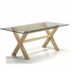 Glassy / Peker Table de repas en verre et chêne 180x90cm chez alinéa