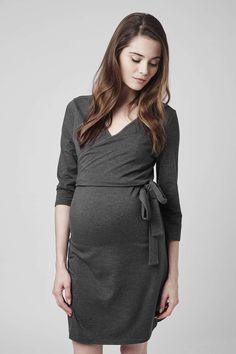 The wrap dress takes on a new season guise with this ponte tie-side style. A flattering silhouette for you and your growing bump, cut with a wrap-over V-neckline, perfect for nursing and finished with belted tie detailing. Designed to wear through pregnancy and beyond. #Topshop