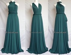 Dark Green Full Length Elegant Infinity Dress by WomenLand on Etsy, $88.00